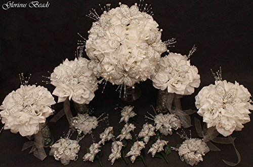 - White / Silver Beaded Lily Wedding Flower 18 piece set with White Roses ~ Unique French beaded flowers and beaded sprays