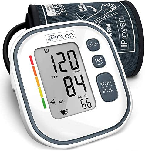 "iProven Digital Blood Pressure Monitor - Upper Arm Blood Pressure Machine for Home Use - with Irregular Heartbeat Detection - Save Up to 60 Readings - Cuff (8¾""-12½""), Batteries and Manual Included"