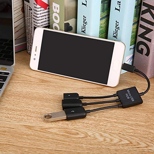 WEIWEITOE-ES 3 in 1 Micro USB HUB Male to Female Double USB 2.0 Host OTG Adapter Cable For Smartphone Computer Tablet 3 Port