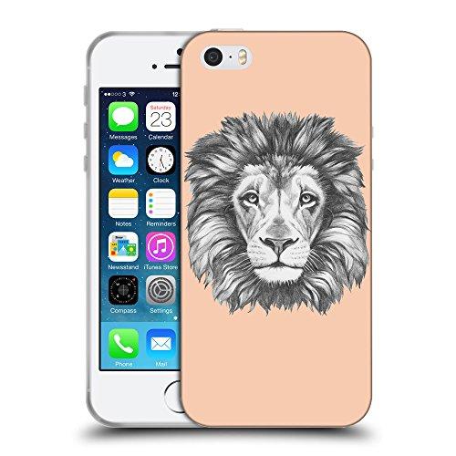 GoGoMobile Coque de Protection TPU Silicone Case pour // Q05160604 Dessin lion Abricot // Apple iPhone 5 5S 5G SE