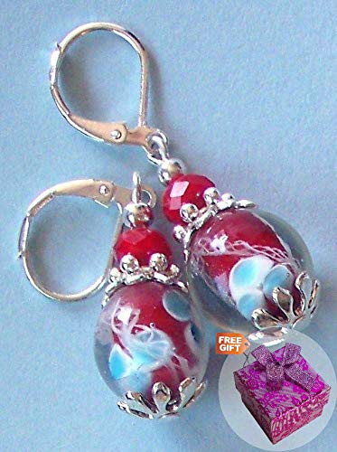 Red White Blue Floral Lampwork Earring Sp Leverback Handcrafted Rhinestone Earrings For Women Set + Gift Box For Free