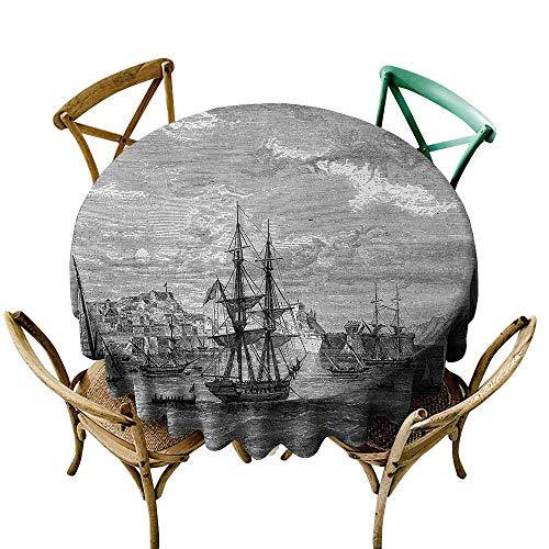 Zmlove Antique Protective Round Tablecloth Departing from Elba Vintage Engraved Illustration History of France Sails Vessels Indoor/Outdoor Black Grey (Round - 71