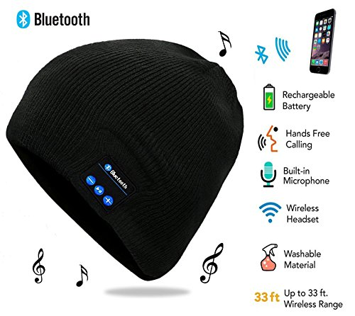 Bluetooth Hat, Bluetooth Beanie, Wireless Bluetooth Headset Hat Music Hat with Built-in Stereo Speakers Fit for Outdoor Sports, Skiing ,Running, Skating, Walking, Christmas Gifts (black)