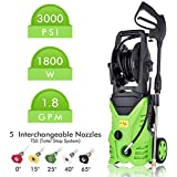 Tagorine Electric Pressure Washer, 3000PSI 1.8GPM Power Washer with 5 Quick-Connect Nozzle,Longer Cables and Hoses and Detergent Tank,for Cleaning Cars, Houses Driveways, Patios,and More (Green)