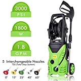 Cheap Tagorine Electric Pressure Washer, 3000PSI 1.8GPM Power Washer with 5 Quick-Connect Nozzle,Longer Cables and Hoses and Detergent Tank,for Cleaning Cars, Houses Driveways, Patios,and More (Green)