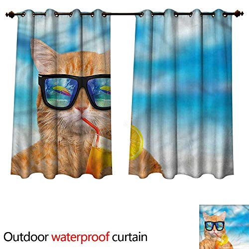 (cobeDecor Funny 0utdoor Curtains for Patio Waterproof Cat with Glasses and Cocktail W96 x L72(245cm x 183cm))
