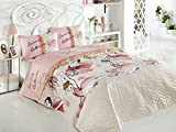 LaModaHome Luxury Soft Colored Bedroom Bedding 65% Cotton 35% Polyester Quilted Cover (Padded) 100% Fiber Filling Dancing Ballerina Girl Dance Music Pink Background
