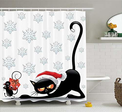 [Christmas Decorations Collection Grumpy Black Cat and Mouse with Santa Hat Cartoon Snowflake Backdrop Noel Humor Decor Polyester Fabric Bathroom Shower Curtain Set with Hooks] (Grumpy Cat Costume Ideas)