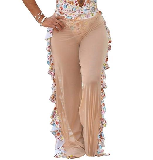 3f45583b20 Amazon.com: Chemenwin Womens Sexy Crochet Sheer Mesh Ruffle Pants See  Through Beach Swimsuit Bottom Cover up Party Clubwear Pants: Clothing