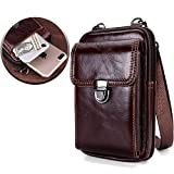 Leather Belt Bag, Men Genuine Leather Wallet Cellphone Belt Loop Holster Case Belt Waist Bag Mini Travel Messager Pouch Crossbody Bag Pack Purse Wallet with Clip - Brown