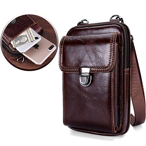 Leather Belt Bag, Men Genuine Leather Wallet Cellphone Belt Loop Holster Case Belt Waist Bag Mini Travel Messager Pouch Crossbody Bag Pack Purse Wallet with Clip - Brown