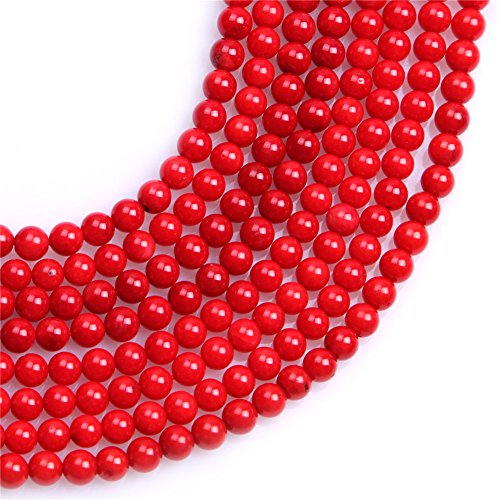 4 Mm Red Coral (4mm Dyed Semi Precious Round Red Coral Gemstone Beads for Jewelry Making Strand 15