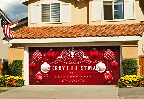 Victory Corps Outdoor Christmas Holiday Garage Door Banner Cover Mural Décoration 7'x16' - Red Ornaments in Snow Outdoor Christmas Holiday Garage Door Banner Décor Sign -