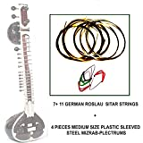 4 MIZRAB PLECTRUMS + COMPLETE INDIAN SITAR STRING SET (MAIN + SYMPATHETIC STRINGS)