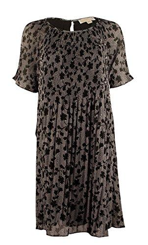 Michael Michael Kors 'Hearnshaw Floral' Print Pleat Neck Dress, Size-m, Black/white