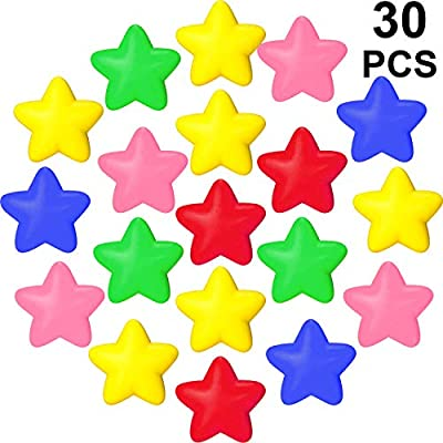 30 Pieces Star Stress Ball Star Stress Relief Toy Mini Foam Star Ball for School Carnival Reward, Student Prizes, Party Bag Gift Fillers (Multicolor): Toys & Games