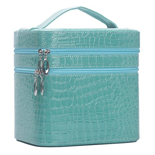 Leather Vanity Case - HOYOFO Mirror Double Layer Makeup Case Storage Bags Cases Set Cosmetic Bag Sky Blue