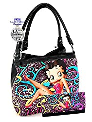 Betty Boop Purse and Wallet Set, Black, Plus Key Chain