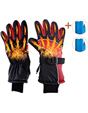 YAOAWE Heated Gloves Battery Powered Heating Gloves Rechargeable Motorcycle Gloves Bicycle Gloves Warm Touchscreen Gloves Men and Women Hand Warmers Outdoor Sports Ski Skating Hiking