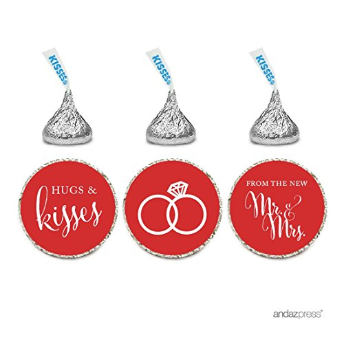 Andaz Press Chocolate Drop Labels Stickers, Wedding Hugs & Kisses from the New Mr. & Mrs., Red, 216-Pack, For Bridal Shower Engagement Hershey's Kisses Party Favors Decor