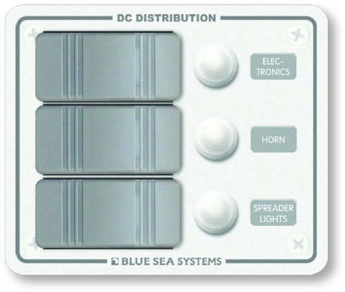Blue Sea Systems Contura Water Resistant 12V DC Circuit Breaker Panel - White 3 Position by Blue Sea Systems