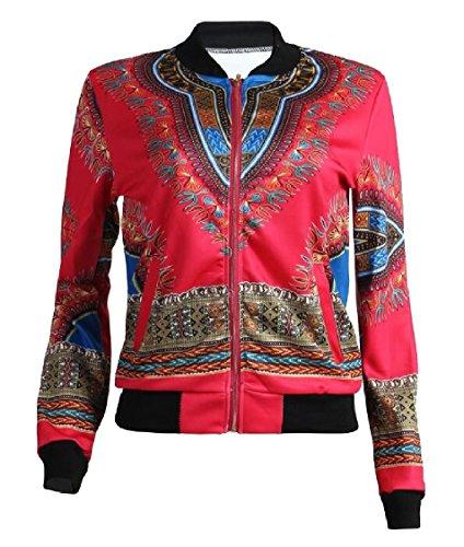 Print Jacket Womens Gocgt 2 Short Zipper Biker African Classic Bomber Coats ExSZ0wqZn