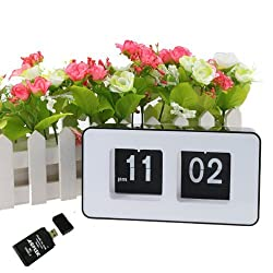 Muhoop Digital Retro Auto Flip Clock Alarm Desk Table File Down Page Clock AM/ PM Format Display Timepiece for Home,Office