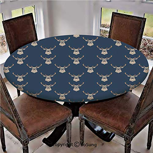 (Elastic Edged Polyester Fitted Table Cover,Hipster Inspired Deer with Antlers Glasses Mustaches Funny Animal Pattern Vintage,Fits up 40