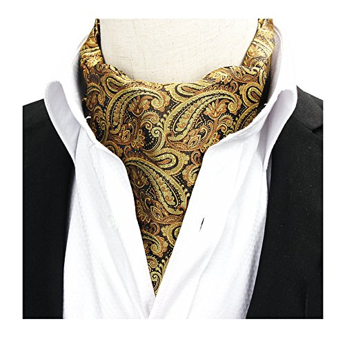 (Men's Yellow Bronze Floral Silk Grooms Ties Luxuriously Designed Jacquard Ascot)