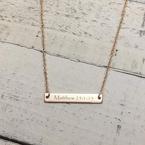 A Same Day Shipping before 3 P.M EST,Christmas gift,Engraved Bible Verse Bar Necklace-Personalized jewelry,Faith Jewelry,Custom Necklace, Baptism gift,Gold plated,silver name bar, silver necklace, -