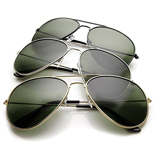 Original Classic Metal Standard Aviator Sunglasses - Nickel Plated Frame (3-Pack (Gold/Silver/Gunmetal)) (Nickel Silver Sunglass)