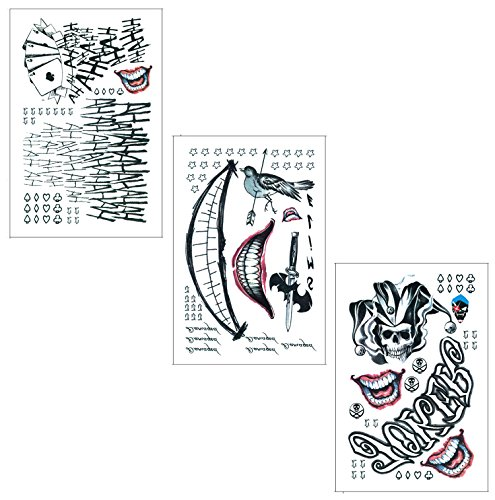 DaLin Temporary Tattoos for Costume Accessories and Parties 3 Large Sheets (Joker Collection)