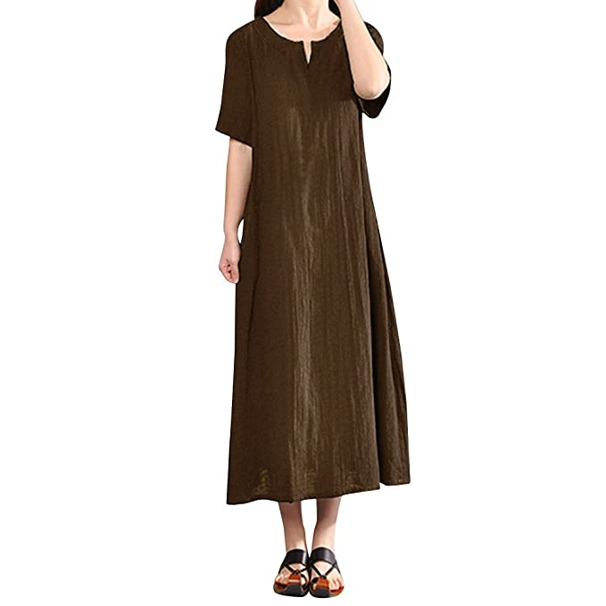 UOFOCO Summer Dress for Women Plus Size Linen Dress Bohemia Casual Solid  V-Neck Short Sleeve Cotton