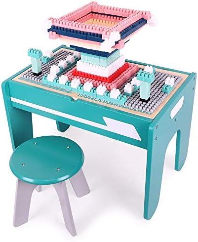 ビルディングブロックゲームテーブル 子供用木製テーブル多機能顆粒赤ちゃん組み立ておもちゃテーブル早期教育パズルテーブル3-6歳の青 ポータブル折りたたみテーブル (色 : 青, サイズ : Small)