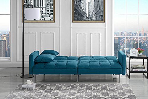 Modern Plush Tufted Velvet Splitback Living Room Futon (Sky Blue)
