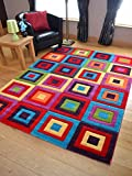 Candy Multicoloured Squares Design Rug. Available in 5 Sizes (160cm x 220cm)