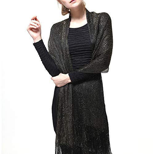 Womens Wedding Evening Shawl and Wrap Glitter Metallic Party Dresses Scarf with Fringe (Black/Gold)