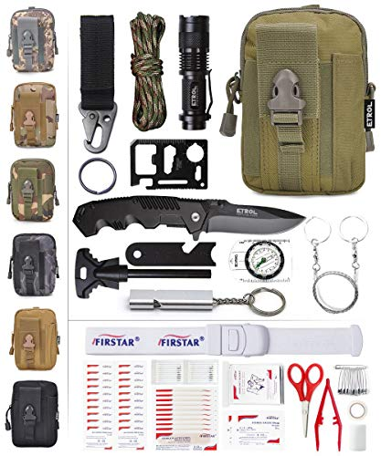 (ETROL Emergency Survival Kit, First Aid Kit, Upgraded Tactical Molle Pouch, 90-in-1 Outdoor Camping Gear for Car, Fishing, Boat, Hunting, Hiking, Home, Earthquake,)