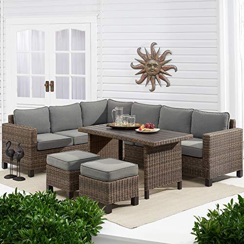 Better Homes & Gardens Brookbury 5-Piece Patio Wicker Sectional Set (Grey)