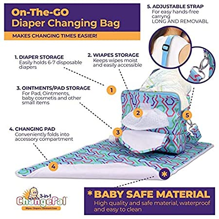 3 Compartment Clutch Waterproof Mat /& Shoulder Straps Portable Diaper Changing Bag Diaper Baby Wipes /& Changing Pad Compartments Includes Lined