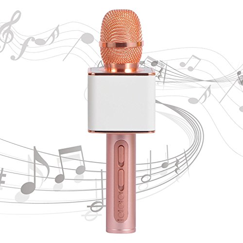 Handheld Karaoke Microphone SU·YOSD Wirelss microphone YS-11 3-in-1 2200mAh Bluetooth Aluminium Alloy Record/USB/TF Karaoke Microphone for Kids Sing Outdoor Home Party(White Rose) ()