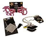3 pc Graduation Accessory Bundle: Pink Glitter Grad Glasses, Grad Hat Beaded Necklace, Mortar Boards Grad Hat Hair clips
