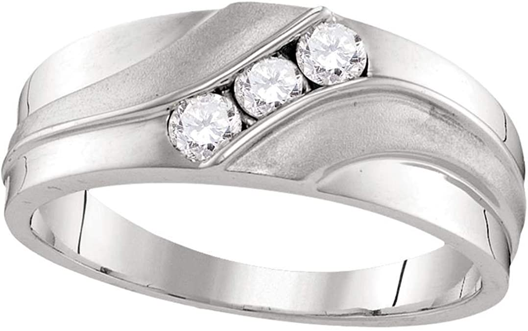Mens Three Stone Diamond Wedding Band Solid 10k White Gold Ring