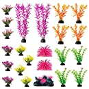 Aquarium Decorations 23 Pack Lifelike Plastic Decor Fish Tank Plants, Small to Large Artificial Fish Accessories Includes Rocks and Colorful Plants