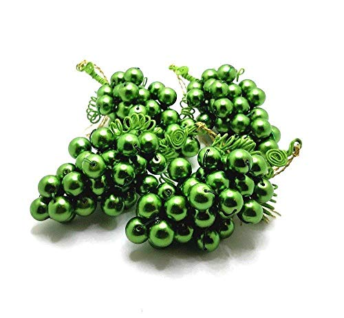 Grapes Beaded Ornaments, Mid Size Green Glass Beaded Grape Clusters, Set of 4