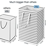 "WISELIFE Laundry Hamper, 75L Large Collapsible Tall Laundry Basket with Handles, Water Resistant Freestanding Clothes Hamper, Storage Basket, Storage Bags for Clothes Toys, 24.4""(H),Grey"