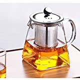 Ceramic Story Borosilicate Glass Teapot with Stainless Steel Infuser, Glass Tea Maker Infuser, for Blooming and Loose Leaf Tea (350ml)