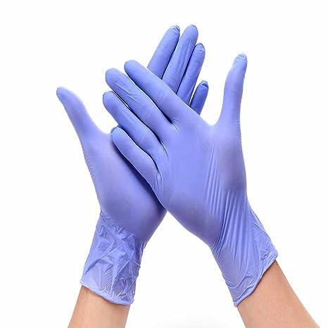 50 pares (100 piezas) desechables impermeable morado Tear resistente al guantes de examen de
