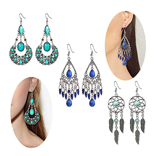 3 Pairs Fashion Chandelier Earrings For Women BoHo Dangle Indian Earrings