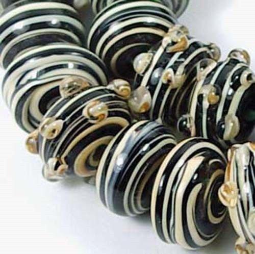 Taffy Swirl Glass - Lampwork Glass ''Tiger'' taffy swirl Rondelle Beads (10)